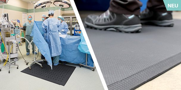 Hygimat hygienische Arbeitsplatzmatte Anti-Ermüdungsmatte für Gesundheitswesen und Lebensmittelindustrie