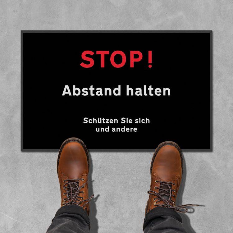 Fußmatte Stop Abstand halten Sauberlaufmatte Social Distancing