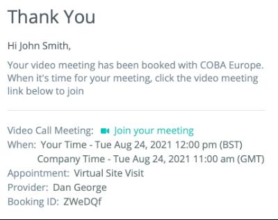 E-Mail Bestätigung des Vor Ort Video Termins