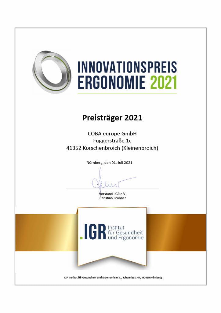 COBA Europe wyróżniona nagrodą Innovation Prize for Ergonomics 2021