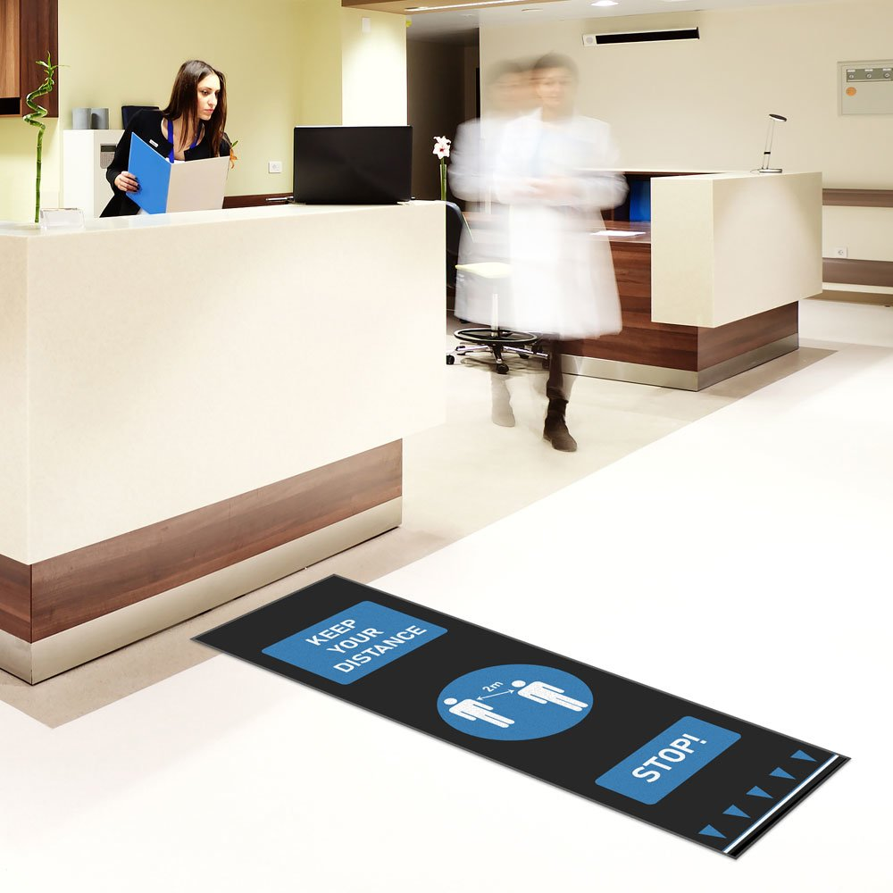 social distance floor mats blue healthcare