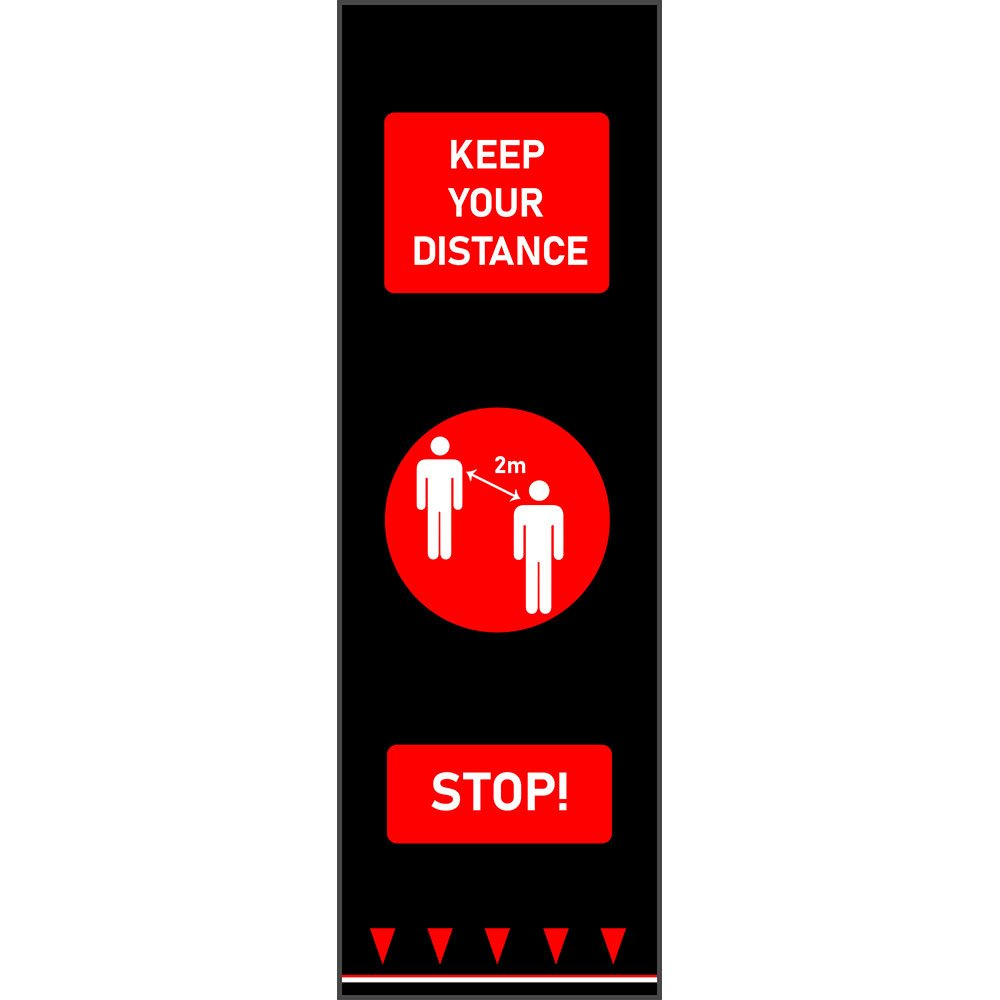 covid-19 social distancing mat keep your distance red