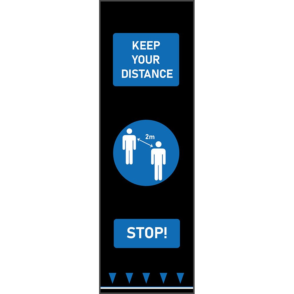 covid-19 social distancing mat keep your distance blue