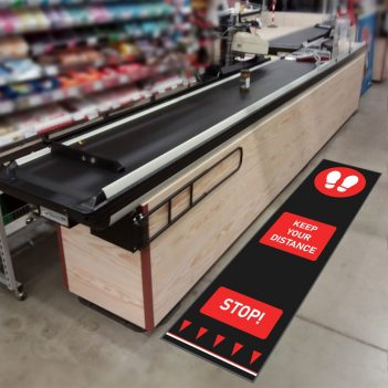 social distancing mats retail supermarket checkout