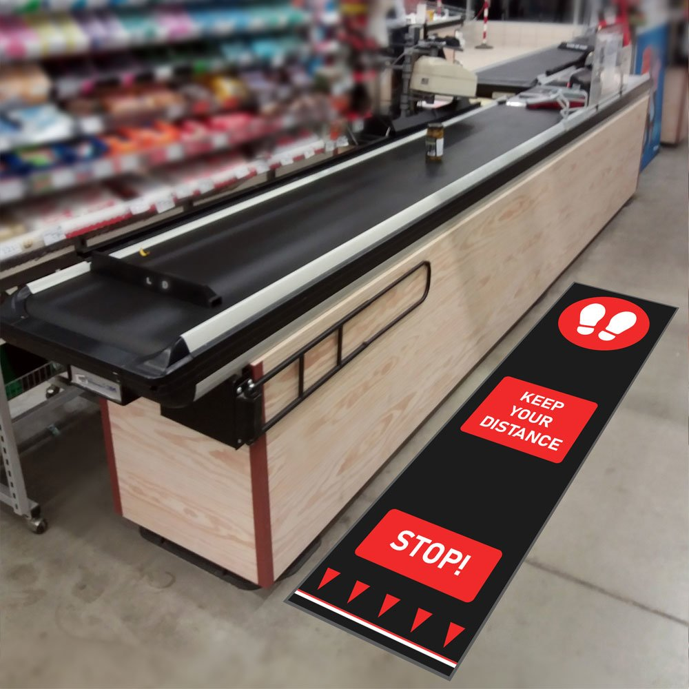social distancing mats retail supermarket checkout