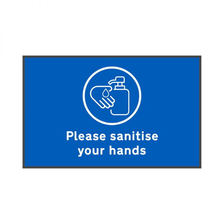 please sanitise your hands floor mat