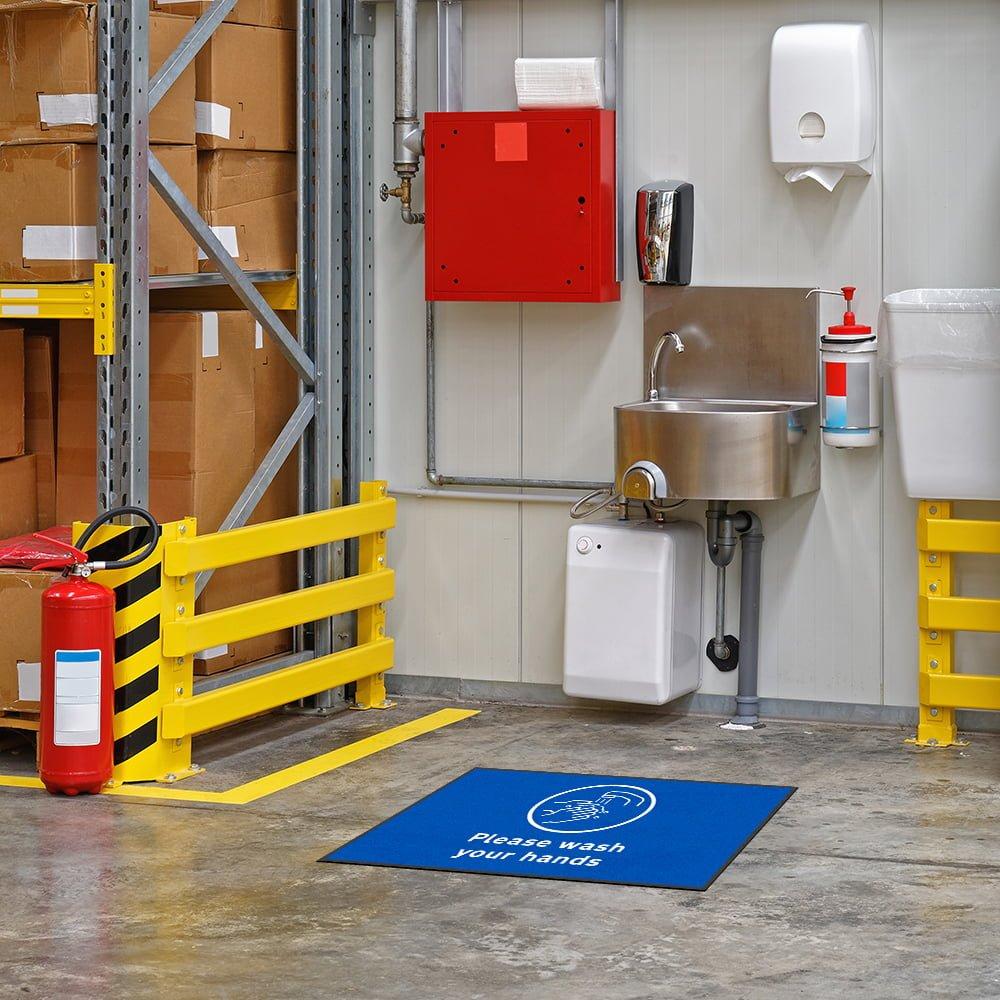 please wash your hands floor mat in warehouse