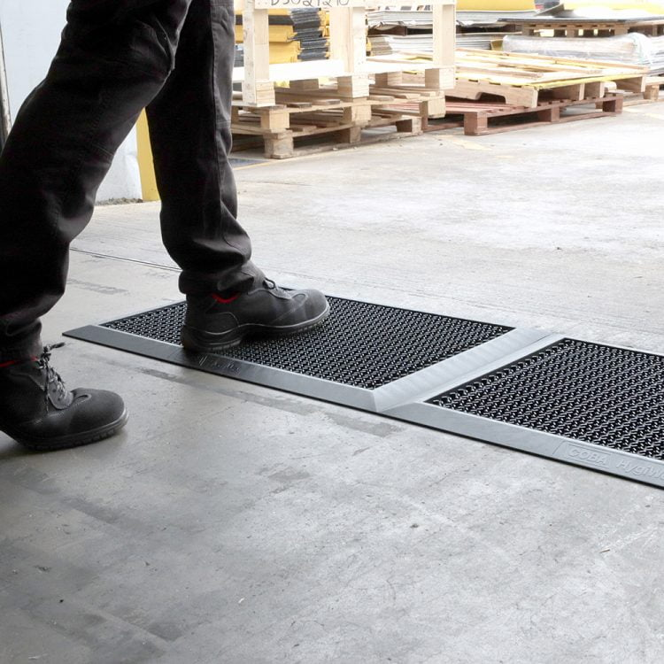 disinfectant mat in warehouse