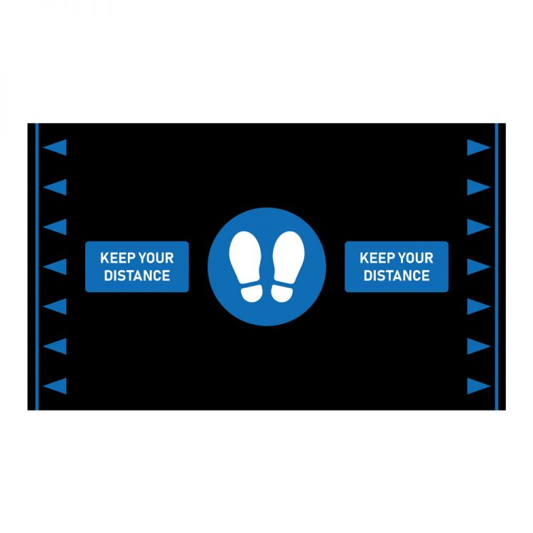 social distancing anti fatigue mat design graphic