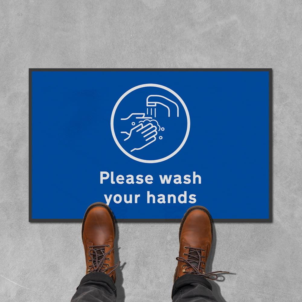 please wash your hands floor mat