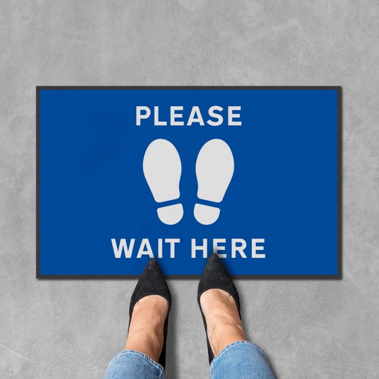 please wait here floor sign mat