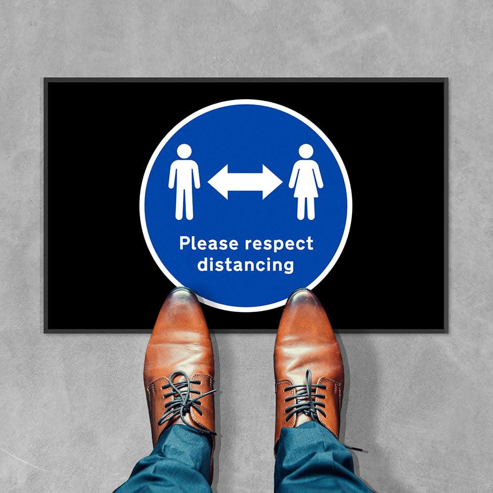 please respect social distancing floor mat