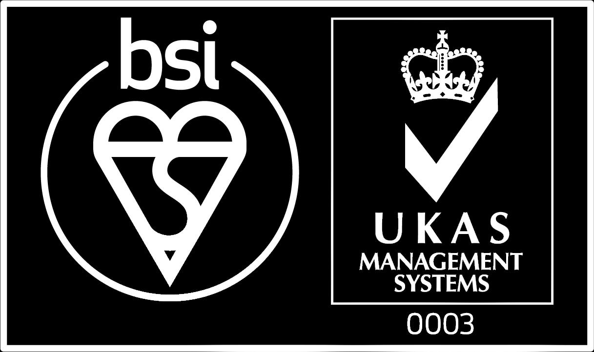 BSI UKAS logo white