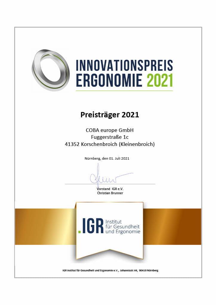 COBA Europe receives the Ergonomics Innovation Award 2021